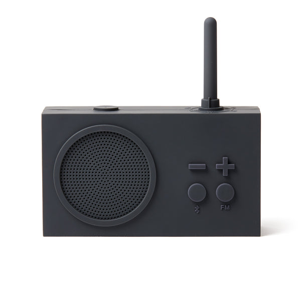 A modern classic and minimalist radio that is splash-proof, portable, rechargeable, and playful. Tykho has both FM radio and bluetooth capabilities, and uses a Micro-USB port for charging, so you can listen anywhere. Encased in silicone rubber. By Lexon.