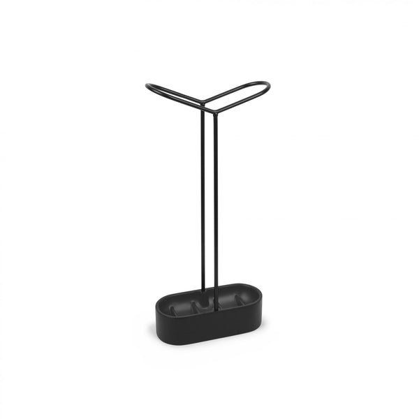 Modern minimalist umbrella stand with simple clean lines and sturdy base in black by Umbra at Port of Raleigh