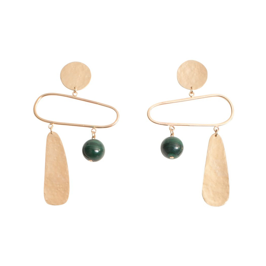 Artful minimalist earrings in 14k gold filled and gemstones. Modern Jewelry made in Los Angeles by WKNDLA. at Port of Raleigh