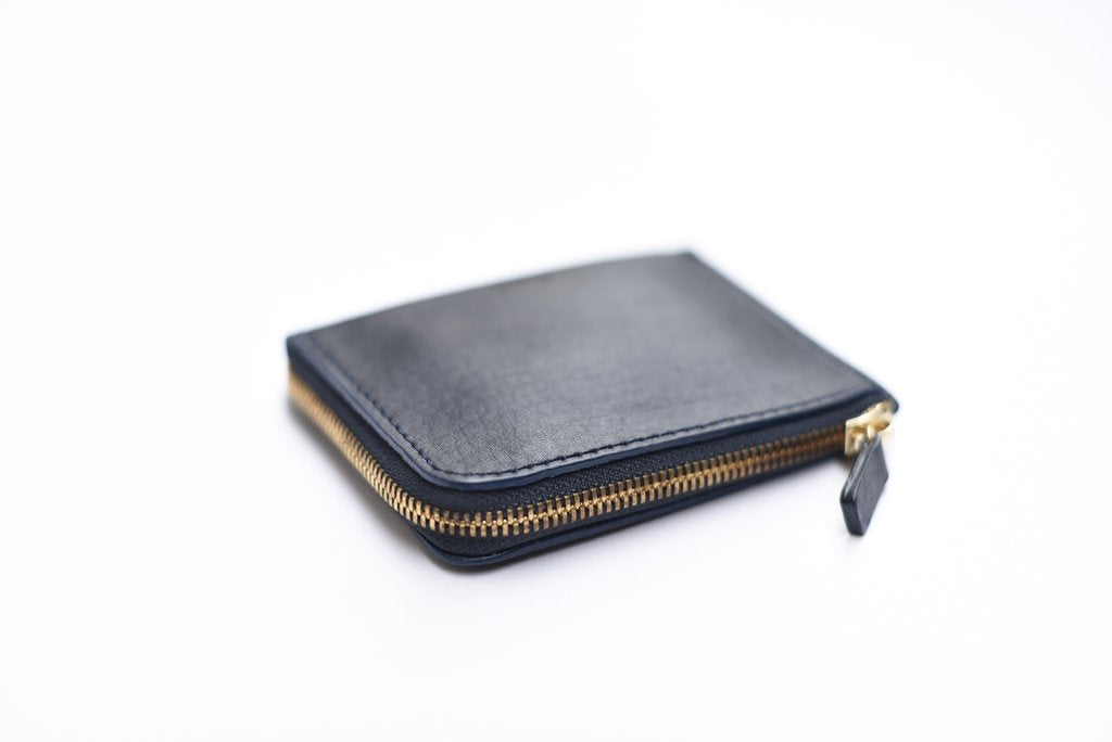 Leather Zip Wallet, Navy