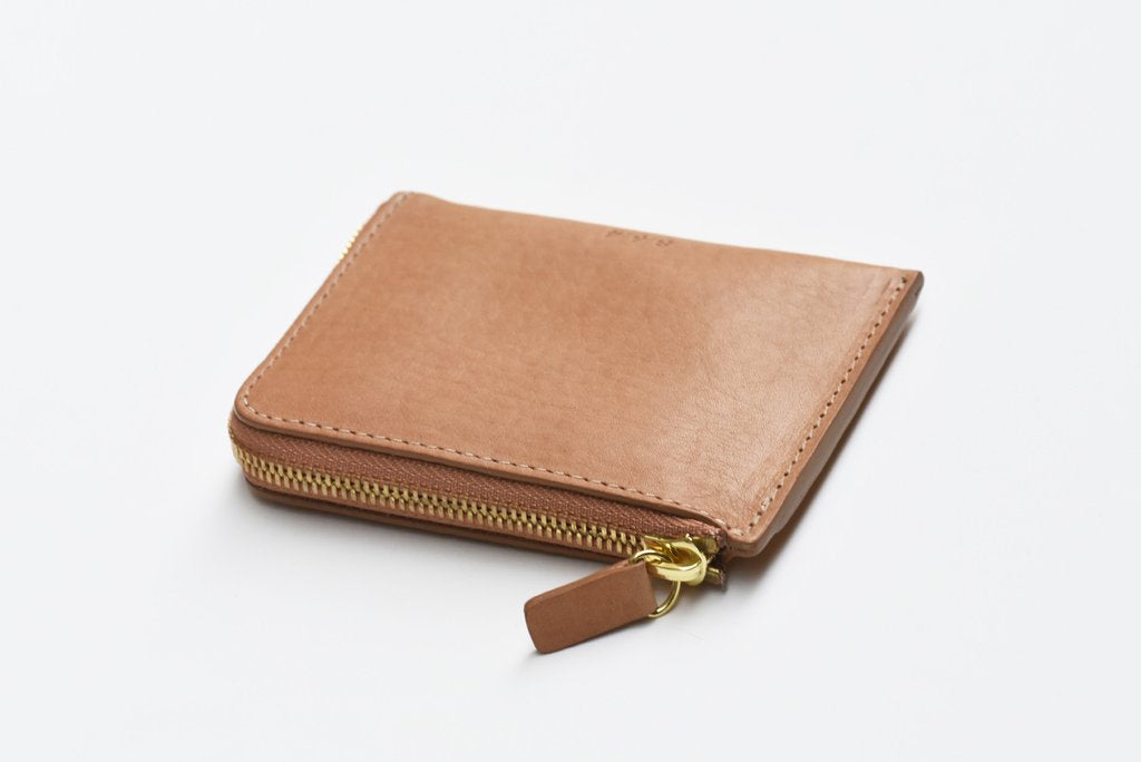 Leather Zip Wallet, Tan
