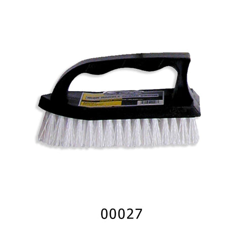 "Iron-Shaped Scrub Brush, 6"" Black Handle, White Bristles, Each"