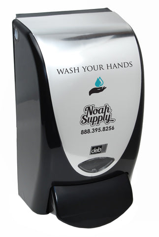 Wash Your Hands Foam Soap Dispenser, Chrome & Black for Deb 1-Liter refills