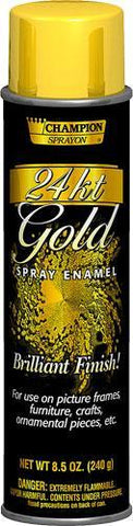 24 kt Gold Brilliant Metallic Spray Paint, Champion Sprayon 8.5oz Can, Pack of 12