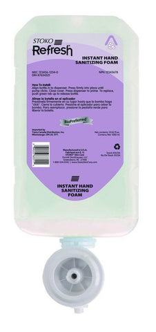 Stoko Refresh 4 in 1 Instant Hand Sanitizer Foam 1 Liter Refill - 35231, Pack of 4