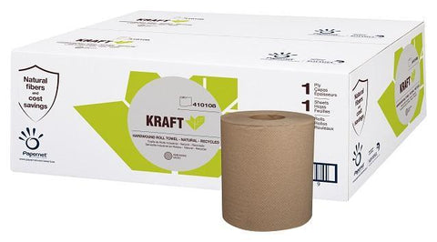 Paper Towels Hardwound Roll, KRAFT, Natural - Recycled 1 Ply, Papernet 410108, Box of 12