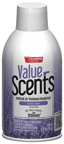 Metered Air Fresheners Value Scents Lavender Champion Sprayon 6.17 oz Can - 5370, Box of 12
