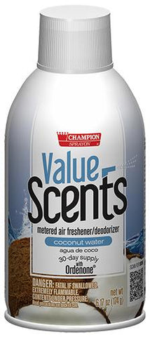 Metered Air Fresheners Value Scents Coconut Water Champion Sprayon 6.17 oz Can - 5372, Box of 12