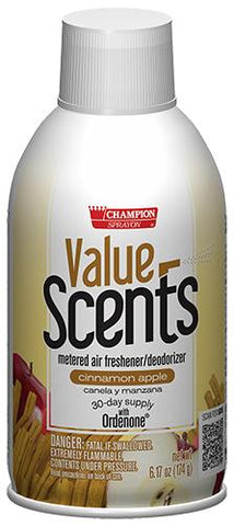 Metered Air Fresheners Value Scents Cinnamon Apple Champion Sprayon 6.17 oz Can - 5373, Box of 12
