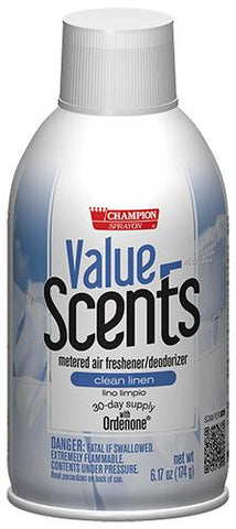 Metered Air Fresheners Value Scents Clean Linen Champion Sprayon 6.17 oz Can - 5374, Box of 12