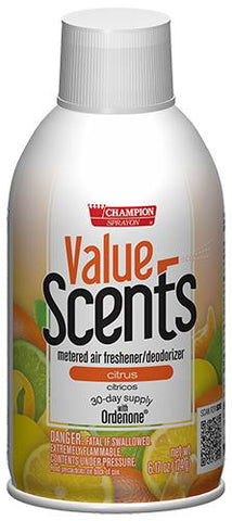 Metered Air Fresheners Value Scents Citrus Champion Sprayon 6.17 oz Can - 5375, Box of 12