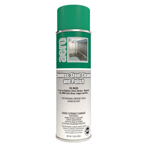 Stainless Steel Cleaner, Oil Based, 15oz Can - Aero 450520FF