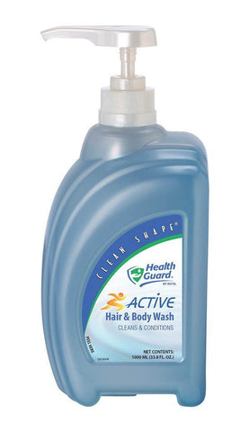 Active Hair & Body Wash, Clean Shape 1000 mL Pump Bottle, Health Guard 67636, Pack of 1