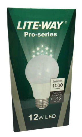 Lite-Way Pro-Series LED Light Bulb, A19, 12W, 120V, Warm White, EA