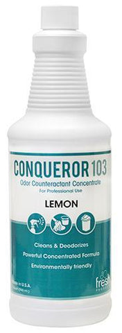 Conqueror 103 Odor Counteractant, Lemon, Liquid 32 oz. Bottle, Box of 12