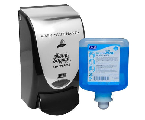 Wash Your Hands Foam Soap Dispenser, Black/Silver + 1-Liter Azure Foam Refill