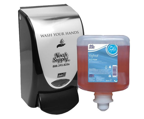 Deb Soap Dispenser Wash Your Hands + Refresh Rose Foam 1-Liter refill
