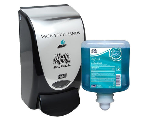 Deb Soap Dispenser Wash Your Hands + Refresh Antibac Foam 1-Liter refill