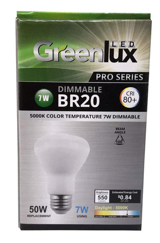 GreenLux Pro-Series LED light bulb, BR20, 7W, 120V, 100DEG Day Light, EA