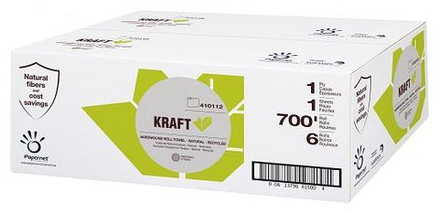 Paper Towels, Hardwound Roll - Natural, KRAFT, 6 x 700', for HyTech Dispensers, Papernet 410112, Box of 6