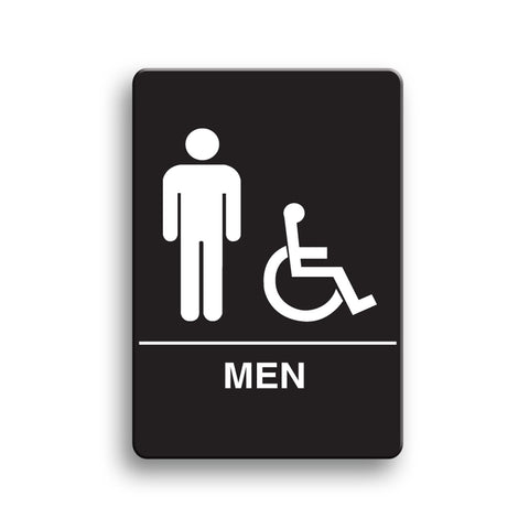 Men's Accessible ADA Restroom Sign Black Palmer Fixture IS1002-16