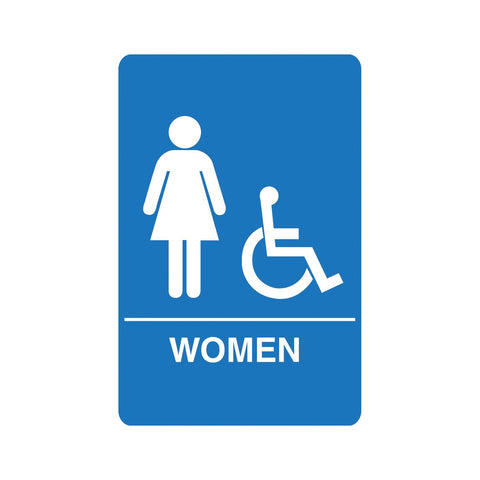Women's Accessible ADA Restroom Sign Blue Palmer Fixture IS1004-15