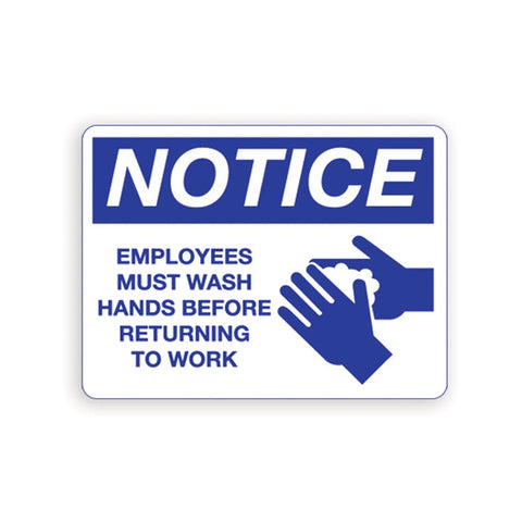 Employee's Must Wash Hands Notice Sign Red Palmer Fixture IS8001-22