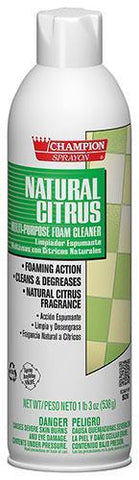 Natural Citrus All-Purpose Foam Cleaner, Champion Sprayon, 19 oz Can, Box of 12