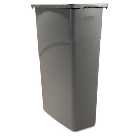 Slim Jim Waste Container, Rectangular, Plastic, 23gal, Gray