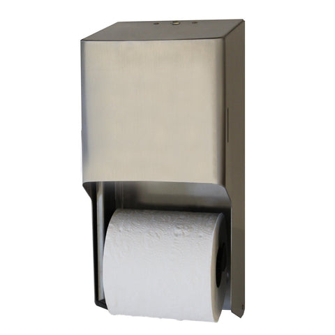 Metal Two Roll Standard Tissue Dispenser Brushed Stainless Palmer Fixture RD0325-09