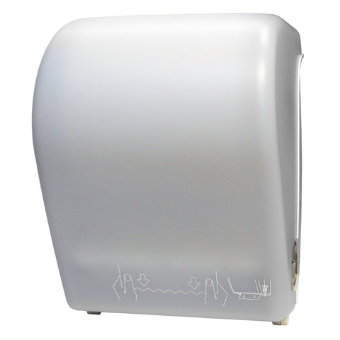 Mechanical Auto-Cut Roll Towel Dispenser White Translucent Palmer Fixture TD0201-03