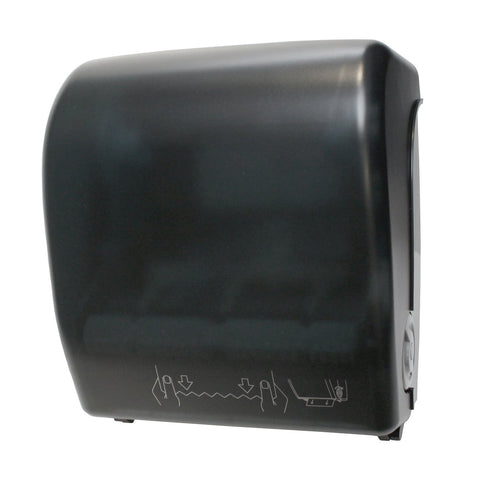 Mechanical Hands Free Roll Towel Dispenser Black Translucent Palmer Fixture TD0202-02