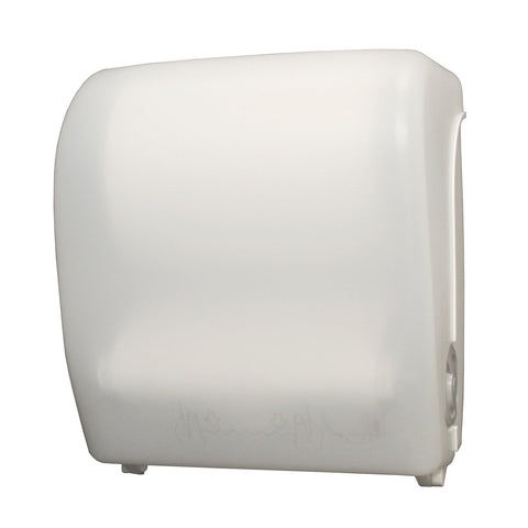 Mechanical Hands Free Roll Towel Dispenser White Translucent Palmer Fixture TD0202-03