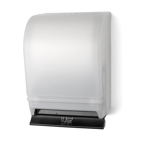 Auto-Transfer Push Bar Roll Towel Dispenser White Translucent Palmer Fixture TD0215-03