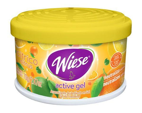 Air Freshener Gel & Odor Eliminator, Citrus Fragrance, 2.5 oz Jar, Wiese, Box of 24