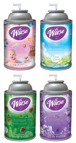 Automatic Air Freshener Spray Refills, Assorted (4)Fragrances, Pack 2, Wiese, Box of 4