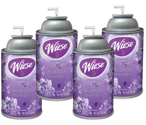 Automatic Air Freshener Spray Refill, Lavender, 7 oz. Can, Wiese, Box of 4