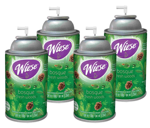 Automatic Air Freshener Spray Refill, Fresh Woods,  7 oz. Can, Wiese, Box of 4