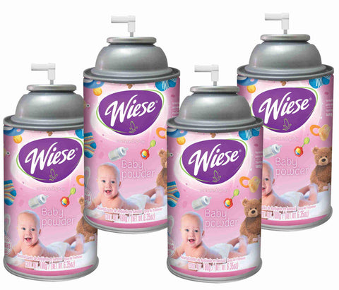 Automatic Air Freshener Spray, Baby Powder, 7 oz. Can, Wiese, Box of 4