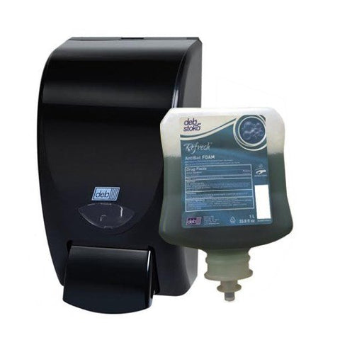 Deb Azure Foam Wash 1-Liter Plus Black Wall Dispenser Combo, EA