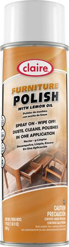 Multi-Surface Furniture Polish with Lemon Oil, 19 oz can, Kosher NSF, Claire, Pack of 6 - 8116
