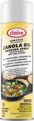Canola Oil Cooking Spray, Non-Stick, 17 oz Can, Claire, Pack of 6 - 8276