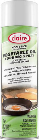 Vegetable Oil Cooking Spray, Non-Stick, 17 oz Can, Claire, Pack of 6 - 8296