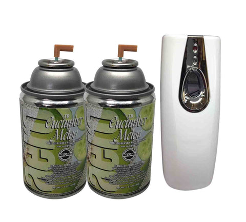 Automatic Spray Air Freshener Kit (2) Refills with (1) Dispenser, Cucumber Melon