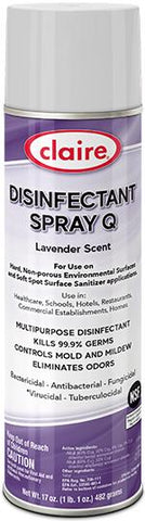 Claire Disinfectant Spray Q, Lavender Scent, 17oz Can, Pack of 1