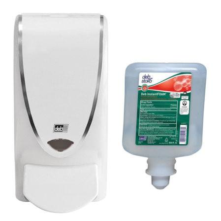 Hand Sanitizer Dispenser + Refill of InstantFoam Hand Sanitizer, 1-Liter