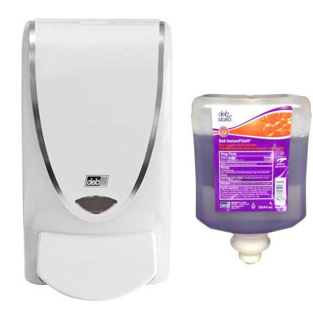Hand Sanitizer Dispenser + Refill of InstantFoam Non Alcohol Hand Sanitizer, 1-Liter