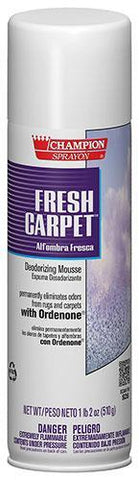 Carpet & Upholstery Deodorizing Foam, Fresh Carpet, 18oz Can, Champion - 5147, Pack of 12