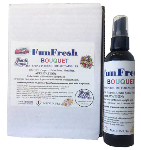 FunFresh Car Air Freshener Spray, Bouquet, 4 oz. Spray Bottle, Box of 6