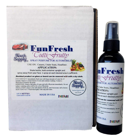 FunFresh Car Air Freshener Spray, Tutti Frutty, 4 oz. Spray Bottle, Box of 6